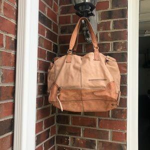 KOOBA Tan Soft Leather Large Satchel Handbag Purse
